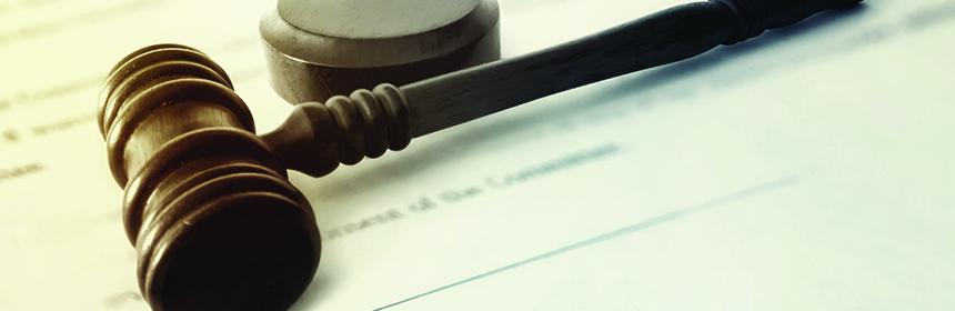 gavel on legal document