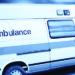 ambulance with blue background