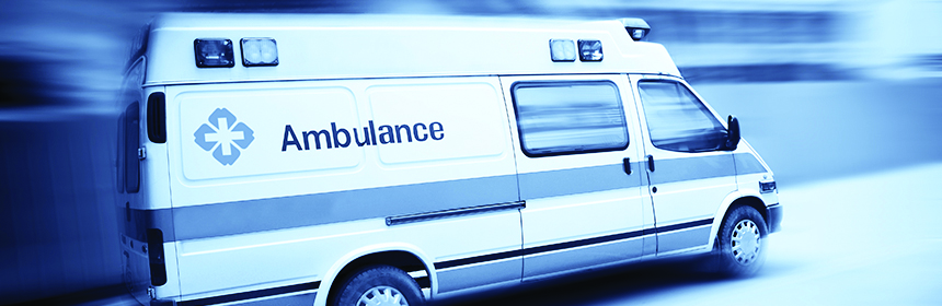 ambulance with blue background