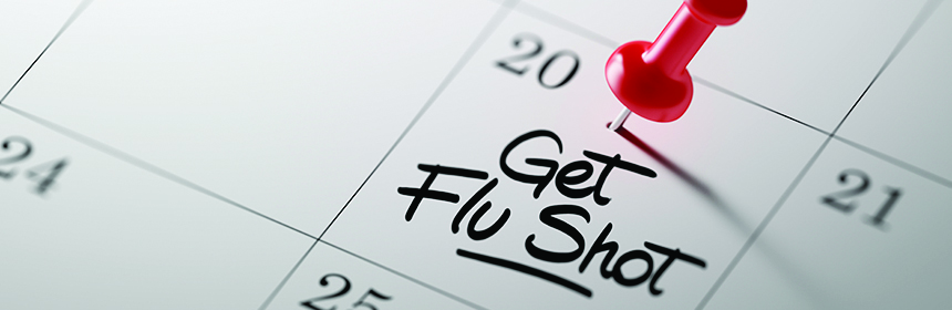 flu shot reminder written on calendar